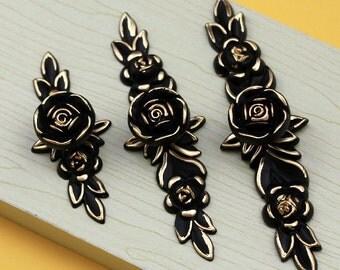 Dresser Knobs Drawer Knob Pulls Pull Handles Rose Flower Gold Black / Kitchen Cabinet Knobs Handle French Ornate Decorative Hardware