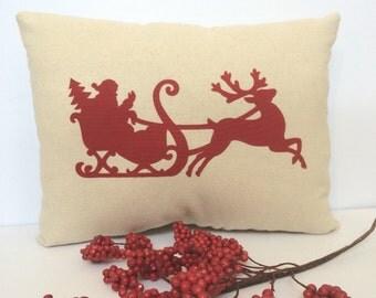 Christmas applique pillow, Santa applique pillow