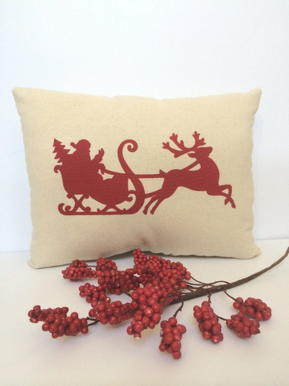 Christmas applique pillow, Santa applique pillow