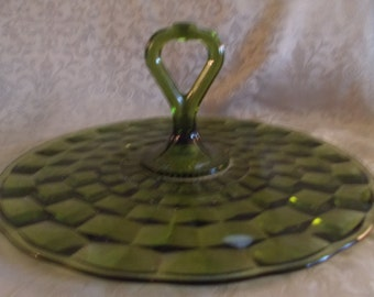 Vintage 1970'S Green Large Serving Tray With Middle Handle