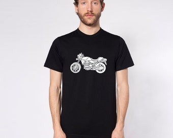 """KillerBeeMoto: Limited Release 1980's Germanic Motorcycle """"Flying Brick""""  Short And Long Sleeve Motorcycle Shirts"""