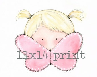 Children's art print - Stacey foster - Children's illustrations - One Tiny Butterfly - Child's painting - Wall art - Kids bedroom art