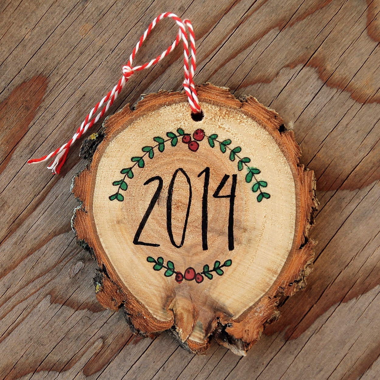 Natural wood slice christmas ornament hand lettered
