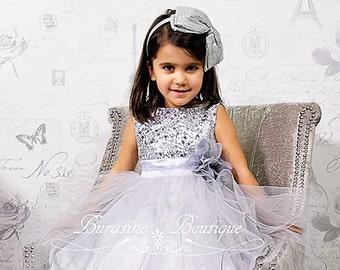 SILVER Flower Girl Sequin Dress, Flower Girl Dress, special occasion dress, Girls silver sequin dress, communion  dress (ets0155)