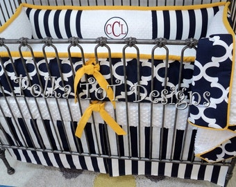 Navy & Yellow Crib Set