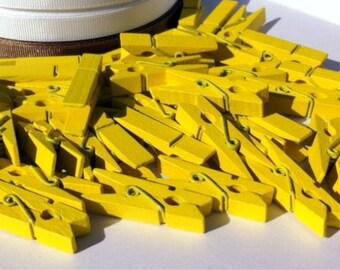 50 Yellow Mini Wooden Craft Pegs (3.5 x 0.8cm)