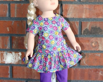 "Grey with Colorful Flowers Ruffle Top with Purple Leggings Set 18"" doll like American Girl"