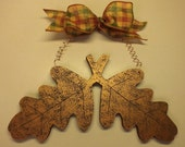 Copper Painted Wood Oak Leaves
