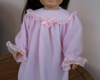 Soft, Pink and White, Thin Polyester Fleece Nightgown for American Girl or 18 Inch Dolls