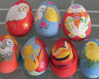 7 carved wooden eggs Easter eggs Easter eggs hand painted colorful wooden SET