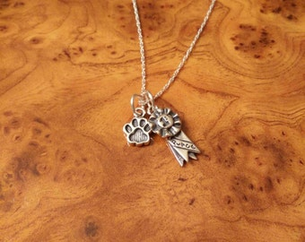 First Place Charm, First Place Ribbon, Winner Necklace, FREE SHIPPING!