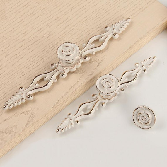 French Provincial Kitchen Door Handles: Shabby Chic Dresser Pulls Drawer Knobs Pull Handles Creamy