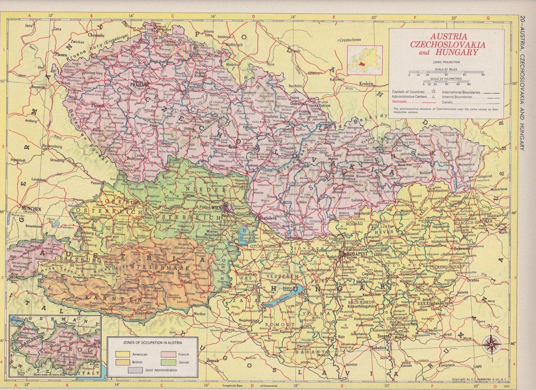 Off Estate Sale Vintage Map Art Switzerland  Liechtenstein - Map of usa for sale