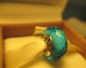 Beautiful Authentic 925 Sterling Silver Fascinating Aqua Pandora Bead Charm