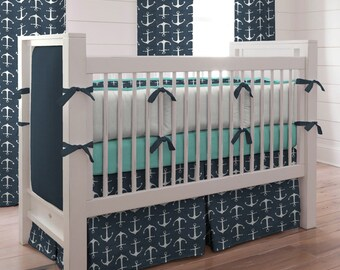 Boy Baby Crib Bedding: Navy Anchors 3-Piece Set by Carousel Designs