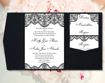 "Pocket Fold Wedding Invitations ""Vintage Lace"" Black DIY Printable Templates Make Your Own Invitations Instant Down. Order Any Color U Print"