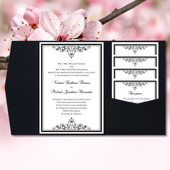 DIY Pocketfold Wedding Invitations Vintage Black