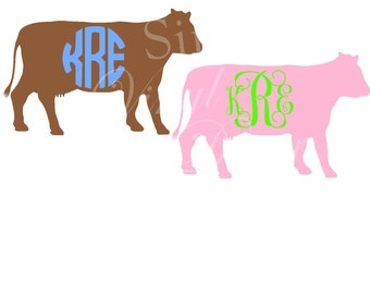 Monogrammed Cow Decal