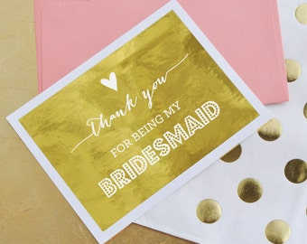 Bridesmaid Thank You Cards - Wedding Party Thank You Cards Thank You Bridesmaid Cards Bridal Party THANK YOU Cards (EB3079TNK) 4 Card Set