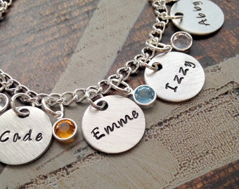 Personalized Charm Bracelet Grandma Bracelet Grandchild Bracelet Handstamped Jewelry Mom Charm Bracelet Grandma Gift Mothers Day Gift