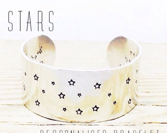 A Bracelet with a STARS Design | Stars gift | Stars Cuff Bracelet | Star Jewellery | Star Jewelry | Star Bracelet | Cuff Bracelet