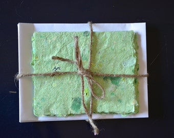 Handmade Recycled Paper & Scented Stationery Set - Lime Green