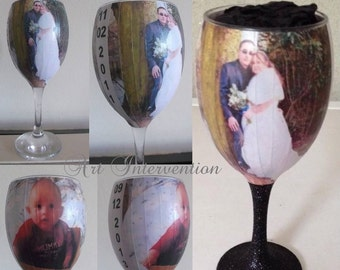 Personal Pic/photo Decoupaged Glass, Glitter stem, Wedding gift, Birthday