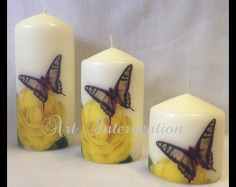 Rose & Butterfly Candles. Hand decorated.