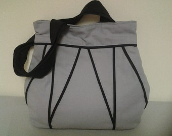 On Sale, Cotton Canvas Bag, purse, tote, Black. And Gray, Medium Tote Bag.Free Gift.
