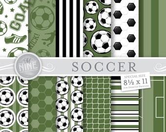 Soccer Digital Paper: Dark Green SOCCER Printable Pattern Prints, Soccer Download, 8 1/2 x 11 Soccer Scrapbook Soccer Backgrounds