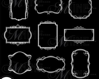WHITE VINTAGE FRAMES Digital Clipart, Instant Download, Vintage Design Elements Antique Borders Clip Art