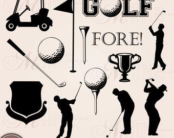GOLF Clip Art: Golf Accents Design Elements, Golf Download, Vector Golf Accents Accent Black Silhouette Clip art