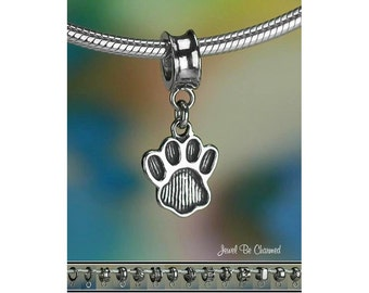 Pawprint Charm or European Style Charm Bracelet .925 Sterling Silver