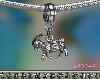 Sterling Silver Goat Charm or European Style Charm Bracelet Solid .925