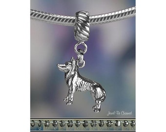 German Shepherd Siberian Husky Charm or Charm Bracelet Sterling Silver