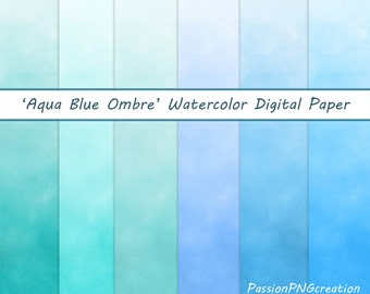 """Aqua Blue Ombre, Watercolour Background, Digital Papers,  Digital Background, 12""""x12"""" printable, JPG, Personal and Commercial Use"""