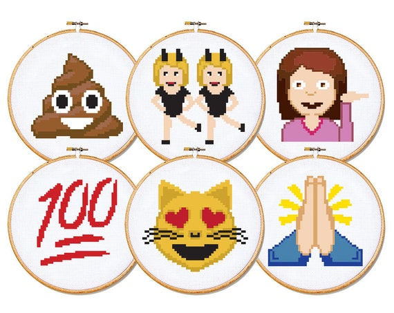 emoji cross stitch patterns set of 6 patterns