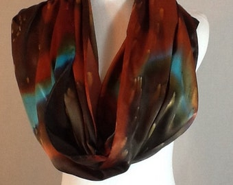"Hand painted silk scarf brown, burnt orange and a hint of turquoise elegant Charmeuse 14""x72"", made to order"