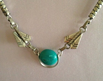 Silver and turquoise necklace, 16 inches long, vintage and new components