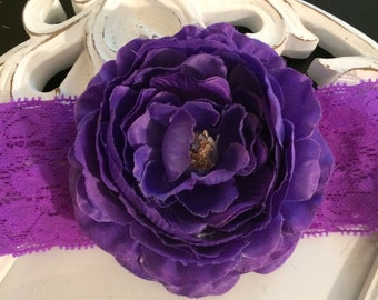 Purple Flower Lace Headband