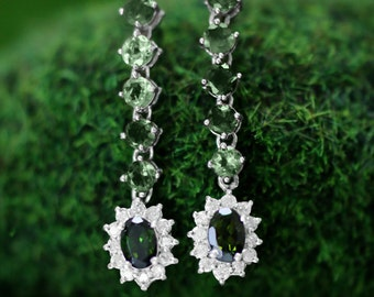 Green Tourmaline and Diamond Halo Dangle <Prong> Solid 14K White Gold (14KW) Colored Stone Earrings *Fine Jewelry* (Free Shipping)