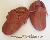 Brown Fringe Mocassin, Baby Moccs, Baby/Toddler Shoes, Genuine Leather, Brown Moccs, Moccasins, Moccs, Baby Moccasins