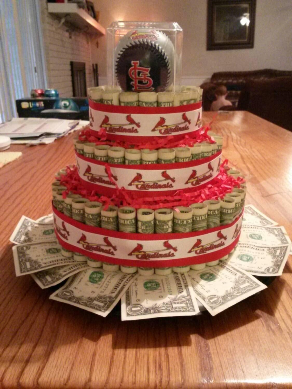 Custom mlb st louis cardinals money cake gift - Money cake decorations ...