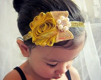 Gold Rosette and Bow Girl Headband,Baby headband