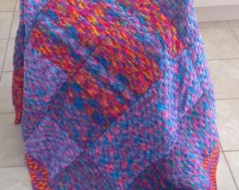 Handmade Knitted Squares Blanket