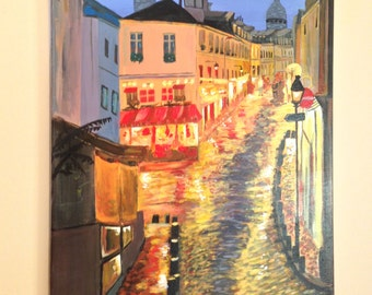Lit Street-18x24 inch Acrylic on Canvas,Modern,Bright Skyline