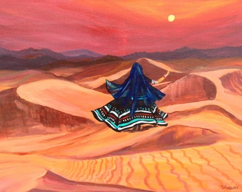 """Dancer on the Dunes-Acrylic on Canvas-Modern,Bright, Colorful,Contemporary,Landscape 24""""x18"""""""