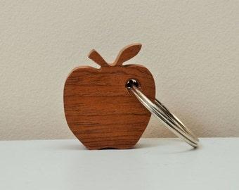Apple Keyring Sapele hardwood natural wood