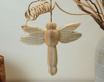 Book Art  Dragonfly  handmade  insect pretty wings