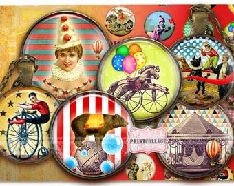 Digital Collage Sheet - Circus - Cabochon images 1.5 inch 18mm 14mm 1inch circle Printable images Instant download bottle caps c167